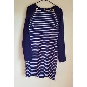 Michael Kors Navy Striped Dress zipper Accents